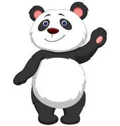 Cute panda cartoon waving vector