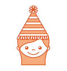 cute girl with party hat character icon vector image
