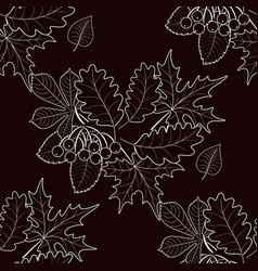Seamless pattern of autumn foliage on background vector