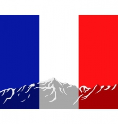 mountains with flag of France vector image