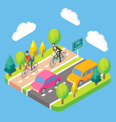 3d isometric bike route concept vector image