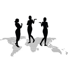 Woman silhouette with hand gesture presenting vector