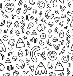 Abstract black doodles seamless pattern vector