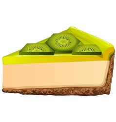 Cheesecake with fresh kiwi vector