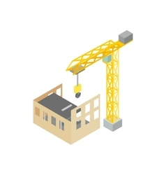 Construction of house with tower crane icon vector