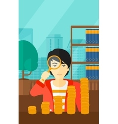 Man with magnifier and golden coins vector