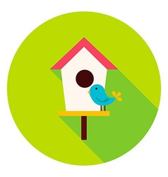 Birdhouse with bird circle icon vector