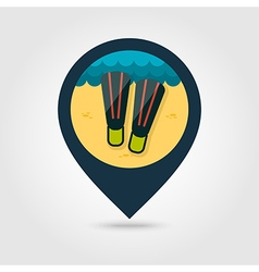 Flippers pin map icon summer vacation vector