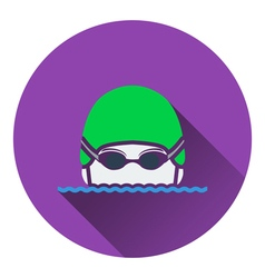 Icon of swimming man head with goggles and cap vector