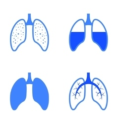 Blue human lung icons set vector