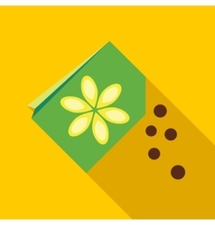 Paper bag with flower seeds icon vector