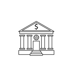 Bank building line icon banking house vector