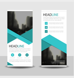 Blue triangle roll up business brochure flyer vector