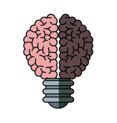 Brain bulb inspiration creativity shadow vector
