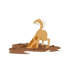 Brown pet dog digging the dirt in the garden vector