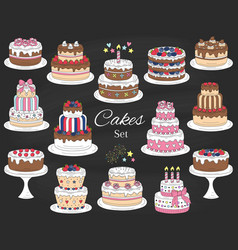 Cakes set hand drawn colorful doodle vector