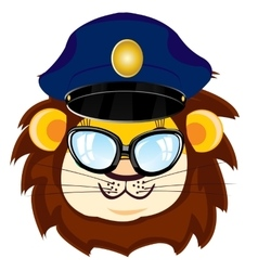 Cartoon lion bespectacled vector image vector image