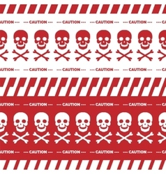 Caution tape with skulls red borders vector