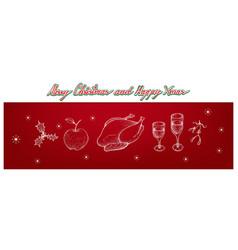 christmas turkey apple holly corner mistletoe a vector image vector image