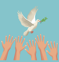 color poster hands and pigeon peace symbol with vector image