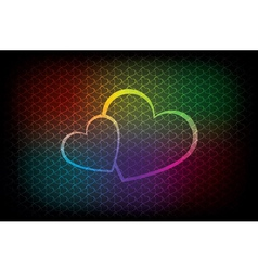 Colorful background with two hearts vector image
