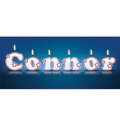 Connor written with burning candles vector