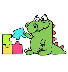 Cute dinosaur assemble the puzzles vector