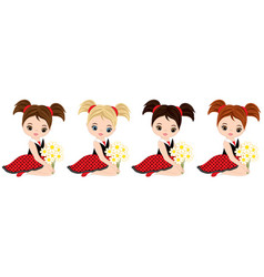 cute little girls with flowers vector image vector image