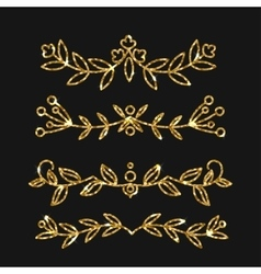 Dividers set gold ornate design golden vector