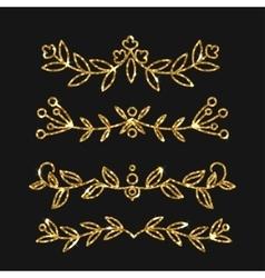 Dividers set gold ornate design golden vector