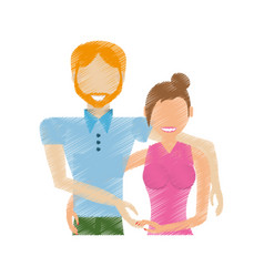 Drawing couple relationship lovely vector