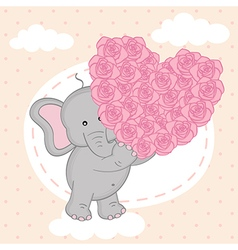 Elephant holding heart of roses on cloud vector