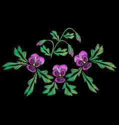 embroidery of jeans smooth lilac flowers pansies vector image