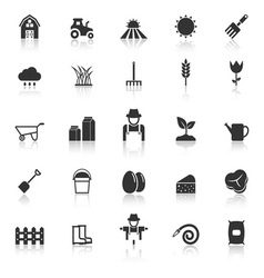 Farming icons with reflect on white background vector