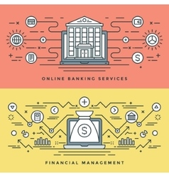 Flat line banking and financial management concept vector