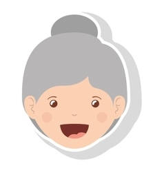 Front face elderly woman smiling vector