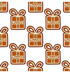 Gingerbread presents seamless pattern vector image vector image