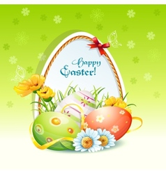 Happy easter card with flowers and easter eggs vector