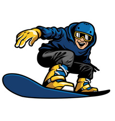 Happy man playing snowboard vector
