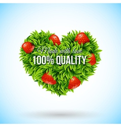 Heart shape label made of leafs Business label vector image vector image