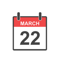 March 22 calendar icon in flat style vector