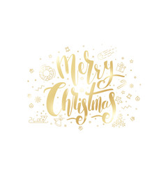 merry christmas golden text on white background vector image vector image