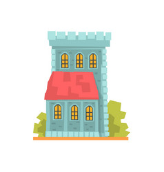 Old stone house with arched windows ancient vector