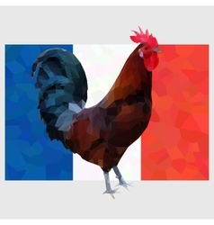 Polygonal gallic rooster on a french flag vector