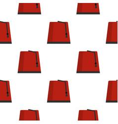 Red turkish fez pattern seamless vector