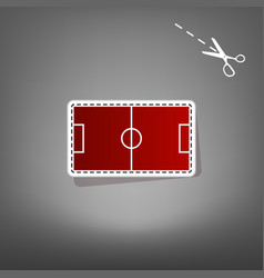 soccer field red icon with for applique vector image vector image