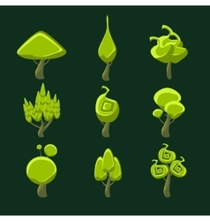 Trees with weird shape crown set vector