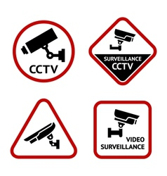 Video surveillance set white labels vector image vector image