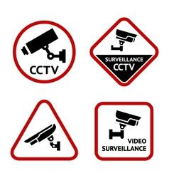 Video surveillance set white labels vector image