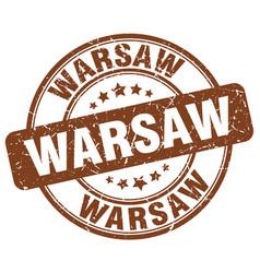 Warsaw brown grunge round vintage rubber stamp vector